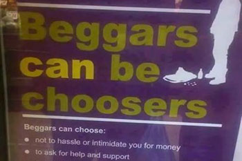 Council removes controversial 'beggars can be choosers' posters image