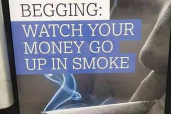 Councils anti-begging posters banned for being 'offensive'  image