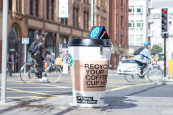 Giant coffee cup bins descend upon Manchester image