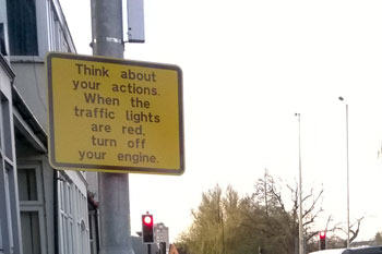 Pollution reduced by signs prompting drivers to switch off engines image